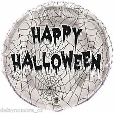 "1 Happy Halloween Spider Web Foil Balloon 18"" Helium Spooky Scary Party Supplies"