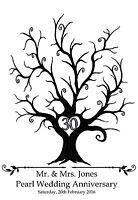 Large personalised Fingerprint Print Pearl Wedding Tree-A3- Guest Book