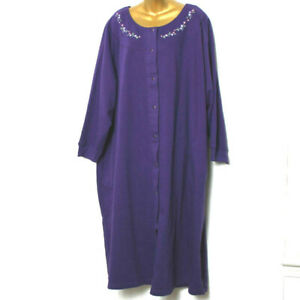 Only Necessities Womens Purple 3/4 Sleeve Pockets Midi Snap Cotton Blend Robe 4x