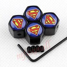 4X Antitheft Car Accessories Air Wheel Tire Valve Caps Dust Cover Superman Badge