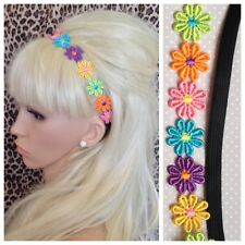 MULTICOLOUR DAISY CHAIN FLOWER STRETCH HAIR FOREHEAD HEADBAND 60s BOHO FESTIVAL