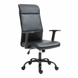 Vinsetto High-Back Office Desk Chair Faux Leather Computer Home w/ Wheels, Black