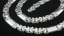 Massiv Königskette Flach Silber Etrusker 925 Sterlingsilber 8,5mm Halskette 60cm