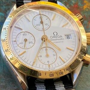 OMEGA SPEEDMASTER AUTOMATIC DATE 175.0043 TWO-TONE CHRONOGRAPH GENUINE WATCH