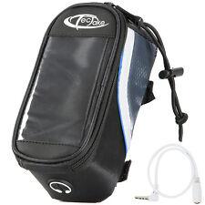 Bolsa funda frontal bicicleta manillar bolso bici móvil smartphone S negro-azul.