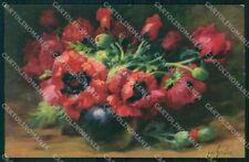 Artist Signed W. Schulze Flowers Meissner Buch serie 2752 cartolina XP8914