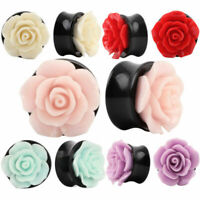 1PC Acrylic Ear Plugs Tunnels Pure Rose Flower Saddle Flesh Expanders Jewelry