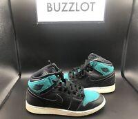 Nike Air Jordan I Retro High 332148-011 Youth Black Teal Size 6.5Y Authentic