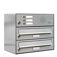 2er Premium Edelstahl Briefkasten Anlage mit Klingel 2 Fach Postkasten Wand