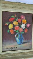 VINTAGE FRENCH PAINTING STILL LIFE FLOWERS OIL ON BOARD WITH FRAME SIGNED