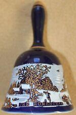 Nos Cobalt Gold Currier & Ives The Homestead in Winter Porcelain Bell #1119Bf