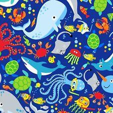 Fabric Baby Snorkling Sealife Fun Full on Blue Cotton by the 1/4 yard BIN