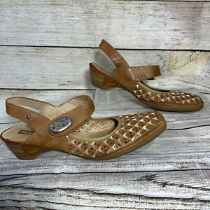 Pikolinos Brown Leather Eyelet Mary Jane Sandals EUR 40 US Womens 8.5 9 Strap