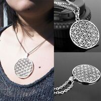 Fashion Flower of Life Pendant Necklace Silver Chain Sacred Geometry Jewelry
