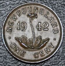 OLD CANADIAN COIN 1942 NEWFOUNDLAND - ONE CENT - BRONZE - George VI - Nice Coin
