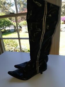 DOLCIS WOMENS SHOE UK SIZE 5 AUS 8 EUR38 BLACK RETRO KNEE HIGH BOOTS KITTEN HEEL