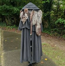 Barbarian Norse Stark Game Of Thrones Black Cloak With Real Fur Silver Fox Pelt