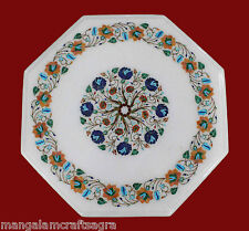 "18"" Marble Coffee Table Top Pietra dura Inlay Work For Home Decors"