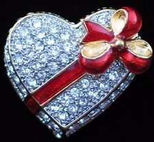 FRIENDSHIP LOVE CUPID  VALENTINES DAY HEART BOX OF CHOCOLATE PIN BROOCH JEWELRY