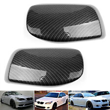 Pair Carbon Fiber Door Side Mirror Cover Caps Fit For BMW E60 2004-2007 UE