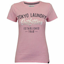 Ladies Top Tokyo Laundry Womens T Shirt Cap Sleeved Felt Embroidery Print Summer Pink - 3c9098 UK 8