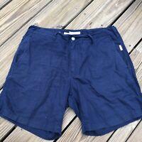 """Men's Navy Blue Onia Linen Blend Shorts 7"""" inseam Size 33"""
