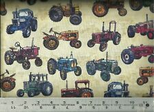 Quilting Treasures ~ Realistic Antique Tractors ~ 100% Cotton Quilt Fabric Bty