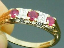 9ct Gold Ruby & Diamond Hallmarked Ring size L