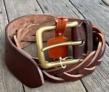 Polo Ralph Lauren Vintage Wide Braided Brown Leather Belt, Made in Italy Size 30