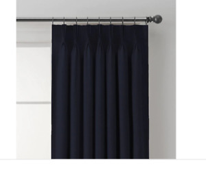 "The Collection Curtain Panel Navy vertical stripe 32"" x 84"" pinch pleat back tab"