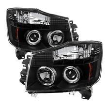 Spyder Black Projector Headlights LED Halo for 04-15 Nissan Titan 04-07 Armada
