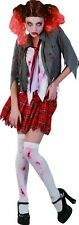 Bloody High School Zombie Girl Adults Scary Halloween Fancy Dress Party Costume