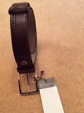 Large Dark Brown, real Leather Men belt,silver colour  Metal buckle,w37–w43inch.