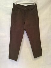 MENS LORO PIANO BRUSHED COTTON STRAIGHT LEG PANTS-BROWN-SIZE 34 X 32..5