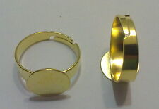 2 BASI PER ANELLO REGOLABILE COLOR ORO BASE 12 mm NICKEL FREE BIGIOTTERIA