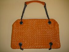 Auth BOTTEGA VENETA Duo Orange Woven Crossbody Shoulder Bag w/ Chain Straps