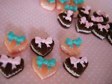 20 Heart Shape Cookie Cream Cake Resin Miniature/Button/Craft/pink/brown B153