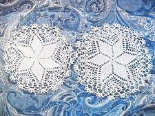 Vintage 2-Piece Hand-Made Round Crochet Doily Set W/Flower Pattern Center
