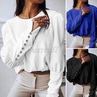 ZANZEA UK Womens Chiffon O-Neck Long Sleeve Button Cuffs Top Ladies Shirt Blouse