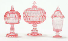 Miniature Dollhouse Chrysnbon Candy Dishes 3 Piece Pink 1:12 Scale New