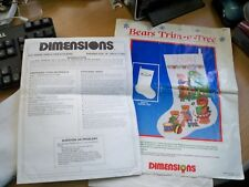 Dimensions l987 Bears Trim-A-Tree , pattern & instructions. front 7 Back stockin