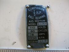 Model Nameplate from Sears Companion 1/3 Horsepower Vintage Electric motor
