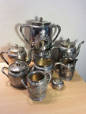 Eastlake Victorian 1880s Large Quadruple Silver Plate 10pc Tea Service Set #3030
