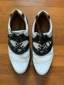 Men's White and Black Ecco Golf Shoes