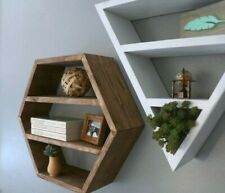 Modern Hexagonal Floating Shelf Wall Shelf Home Decor Storage Dark Brown / White