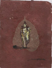 Original Ink and Oil with Bodhi Leaf   Elephant        Vientiane Laos       BL31