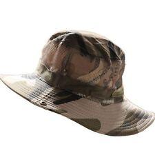 Para Hombre Camuflaje Sombrero Cubo Boonie Al Aire Libre Caza Pesca Gorra  Ala Ancha Sol Sombrero 9b3f65987e49