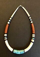 "Santo Domingo Graduated Turquoise Shell Heishi Necklace 18"" - Delbert Crespin"