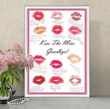 Hen Party Keepsake Guestbook  KISS THE MISS GOODBYE - Includes White A4 Frame