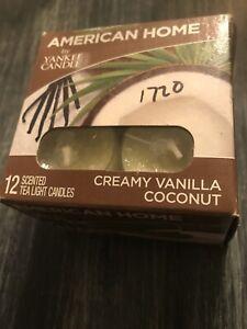 YANKEE CANDLE AMERICAN HOME TEALIGHTS CREAMY VANILLA COCONUT - BOX OF 12 - NEW